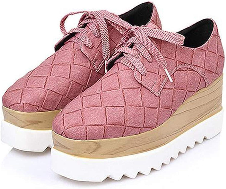 Btrada Women High Heels Platform Wedges Low Top Sneakers Ladies Thick Heels Casual Flats Non-Slip shoes