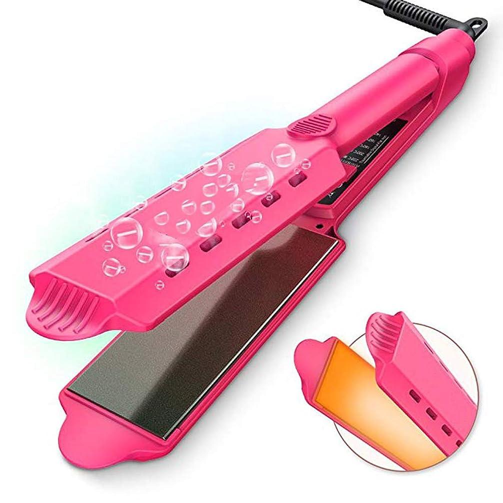 アノイ拒否リルフラットアイアン、ストレートヘアアイロン1インチチタンセラミックフラットアイアン、LEDデジタル液晶ディスプレイ付き、二重電圧矯正鉄、すべての髪型用の調節可能な温度