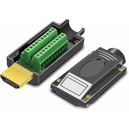Oiyagai HDMI Adapter Signals Terminal Breakout Metal Cover Terminal Breakout Board Connector Solderless Free Welding Adaptor (Black)