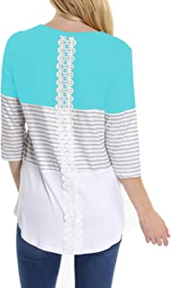INWECH Women's Comfy Round Neck Triple Color Block Stripe T-Shirt 3/4 Sleeve Casual Blouse Tops Tunic