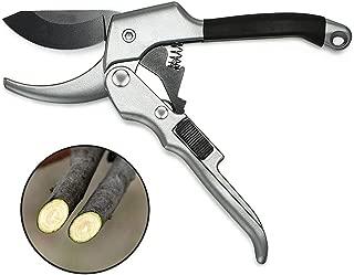 Venzo 手動枝剪定ばさみ 力のいらないラチェット式 花や木の枝の剪定に最適 ハイカーボン鋼SK5を使用したシャープな刃