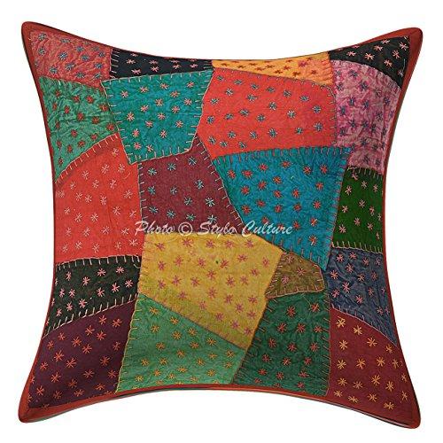 Stylo Culture 16x16 Patchwork algodón Arrojar la Almohada Cubrir Multi Color Indio cojín Abstracto