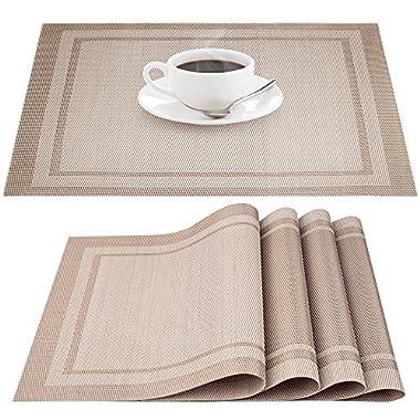 IHUIXINHE Placemats, Heat-resistant Non-slip Stain-resistant Washable PVC Place Mats, Woven Vinyl Double Border Table Mat, Set of 4 (Beige)