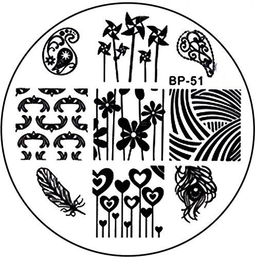 STAMPING-SCHABLONE # BP-51 Windräder, Herzen, Feder, Blumen etc.