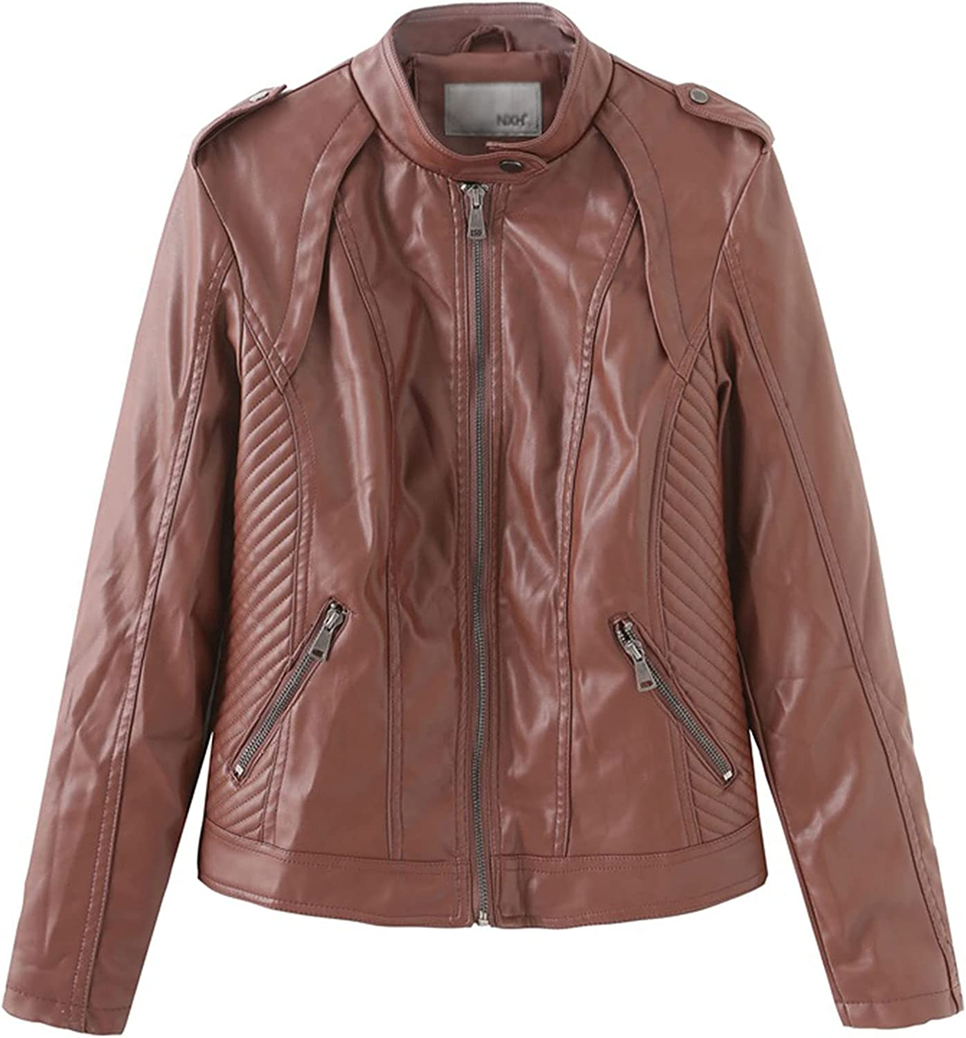 CAICAIL Women's Leather Jacket, Slim-Fit Women's Brown Motorcycle Jackets PU Motorcycle Coat, Zip Up Female Outwear