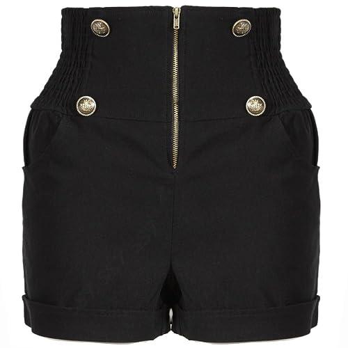 972399a12f SS7 Womens High Waist Casual Shorts 8-16