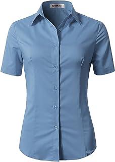 NINEXIS Womens Basic Short Sleeve Button Down Slim Fit Blouse Shirt