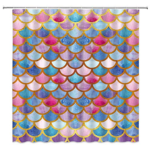 Mermaid Scale Shower Curtain Watercolor Pink Geometric Mermaid Glitter Fish Scales Blue Gold Tail Ocean Glare Ocean Girls Fairy Tale Princess Decor Bathroom Curtain Fabric 70x70IN with Hooks