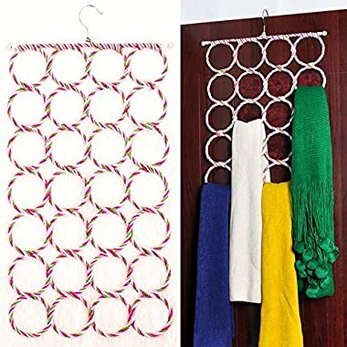 Foldable 28 Ring Hole Slots Space Saving Closet Hanger Scarf, Ties, Belts, Socks Organizer for Home Living Room, Bathroom, Bedroom