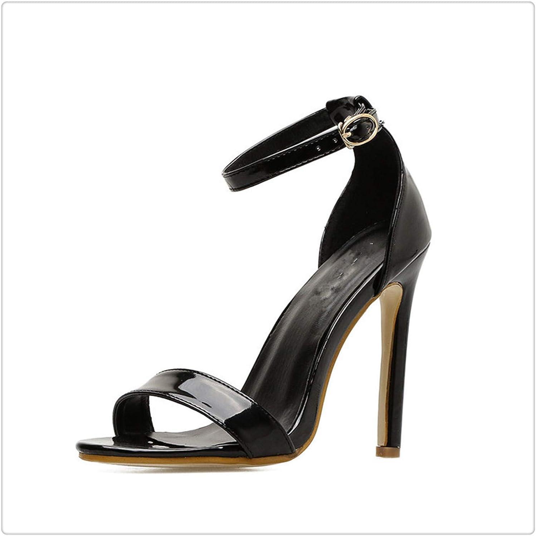 Yyixima Extreme hög klack Sandals Kvinnor Patent Patent Patent läder kvinnor sommar skor 2018 Sexiga kvinnor Sandaler 11 cm svart 8  dagliga låga priser