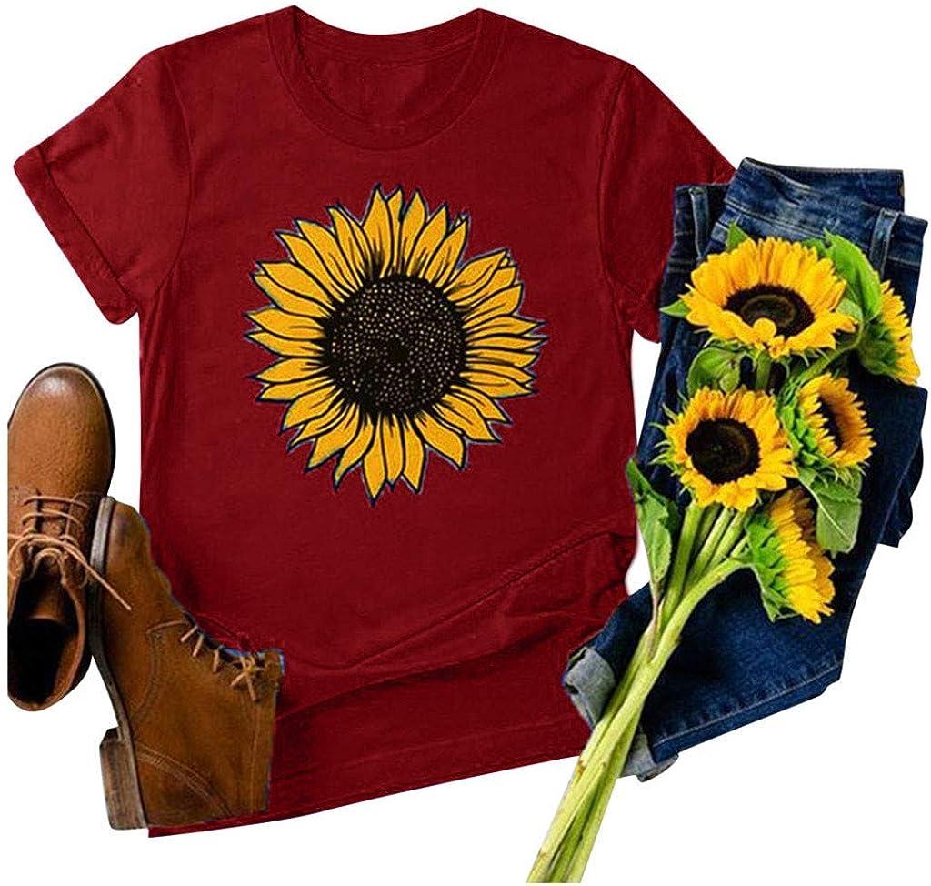 Sunflower Shirt Women Flower Graphic Inspirational Tees Summer Short Sleeve Casual Tshirt Faith Shirt Top