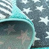 carpet city Kinderteppich Flachflor Bueno Sterne Muster Mint Türkis Konturenschnitt Glanzgarn Kinderzimmer; Größe: 160×230 cm - 7