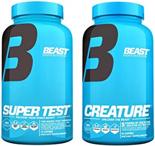 Super-Test and Creature Creatine Combo Pack: Beast Testosterone Booster Supplement and Creatine Pills, Synergistic Muscle Stack to Build Powerful Lean Muscle, Boost Strength/Endurance, 180 Caps Each
