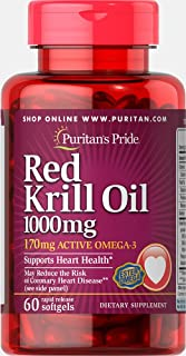 Puritan's Pride Red Krill Oil 1000mg (170mg Active Omega-3) 1000mg, Softgels, 60ct