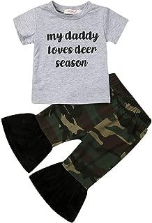 Newborn Infant Baby Girl Printed Clothes Set Long Sleeve T Shirt Dot Bell-Bottom Pants