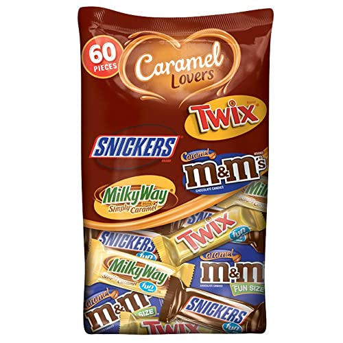 Mars Chocolate Caramel Lovers (M&M'S, Snickers, Twix & Milky way) Fun Size Candy Bars Variety Mix 37.64-Ounce 60-Piece Bag (10040000519093)