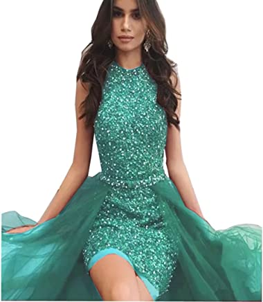 ddbdc29273fc2 Chady Women's Sequins Burgundy Mermaid Evening Dresses with Detachable  Skirt Scoop Neck Pageant Prom Dresses