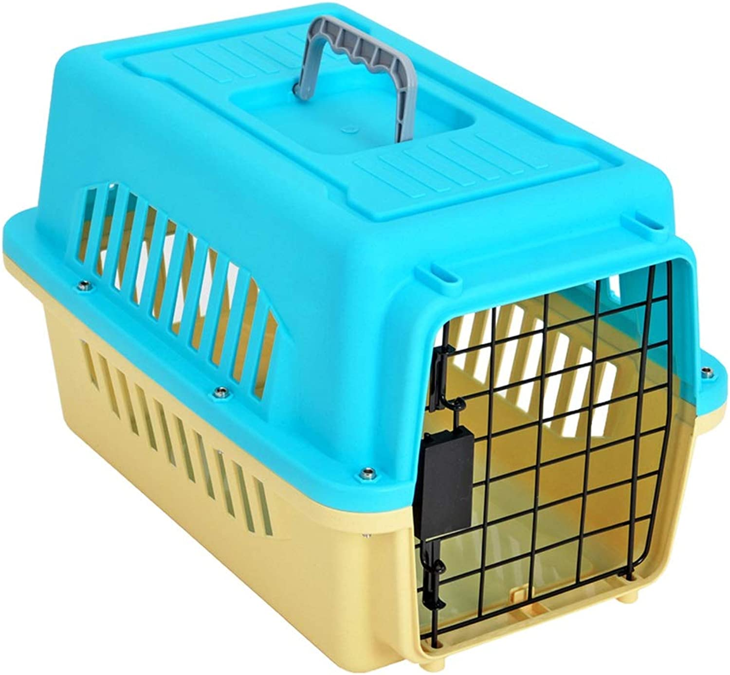 Playpens & Pens Pet cage pet air box small dog transport cage air transport check box Teddy portable out box cat supplies Pet Supplies (color   bluee, Size   50  33.7  31.4cm)