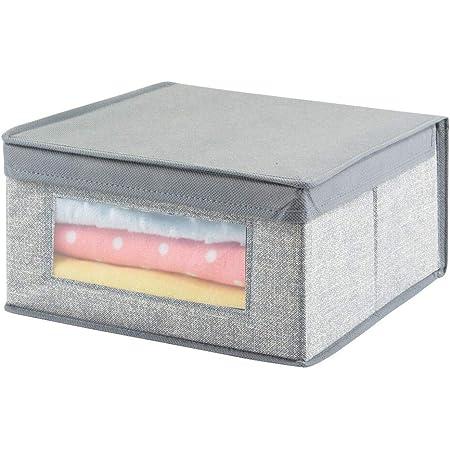 mDesign boîte de Rangement tricoté pour Armoire – Panier de Rangement de – bac de Rangement Pratique – Couleur : Gris avec Motifs en Fibre de Jute