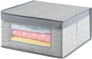mDesign boîte de Rangement tricoté pour Armoire – Panier de Rangement de – bac de Rangement Pratique – Couleur : Gris avec...