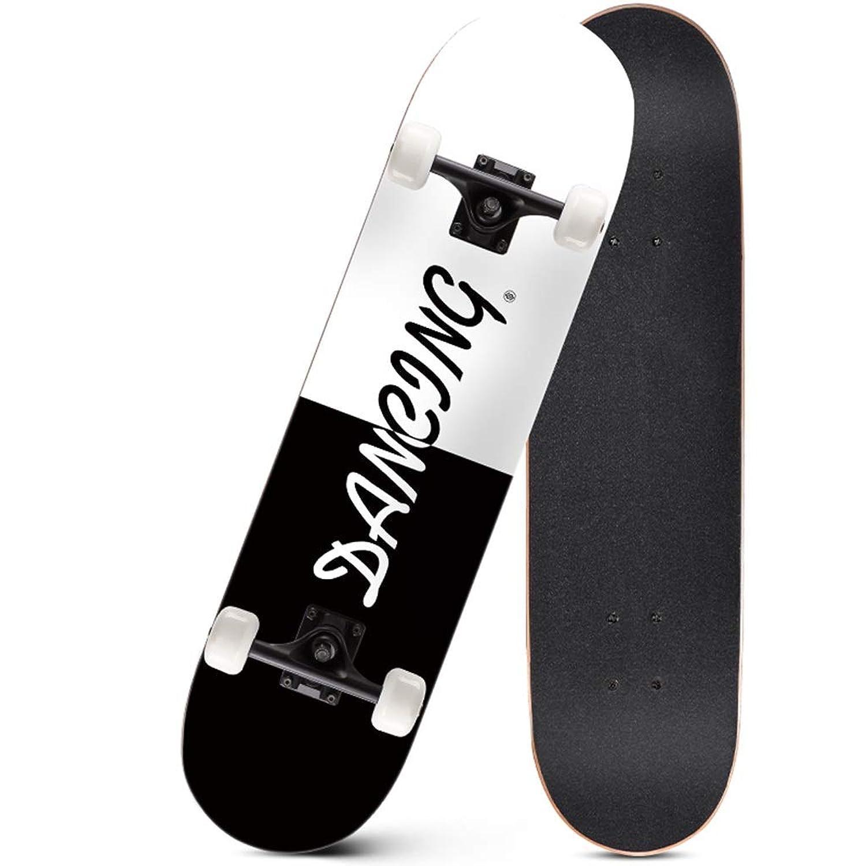 標準スケートボードコンプリートスケートボード凹面デッキダブルキックテール高品質メープル4車輪適した子供女の子男の子初心者