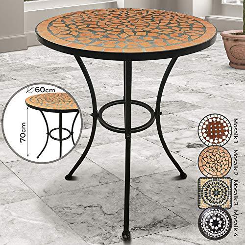 Jago Mosaiktisch - rund oder eckig, Stahl, Ø60 - Balkontisch, Gartentisch, Bistrotisch, Beistelltisch, Balkonset, Bistroset, Mosaikmöbel für Terasse (Mosaik 2 (Terracotta-Schwarz))
