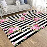 Pamime Modern Area Rug 3X5 for Living Room Decoration Abstract Tropical Plants Flowers Floral Pattern Pink Style Striped Black White Background