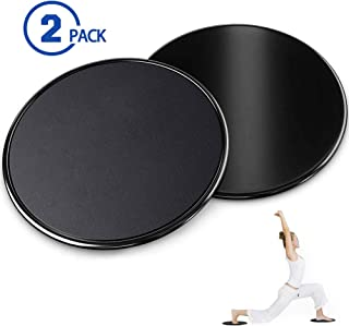 ROSRAN Core Sliders – Dual Sided Fitness Sliders for Hardwood Or Carpeted Surfaces – Ideal for Ab & Core Workouts – Exercise Core Gliders Gliding Discs for Full Body Workout - Black 2 Pieces