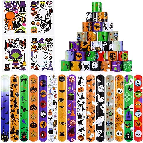 60 PCS Halloween Slap Bracelets,Snap Bracelets Bulk, Halloween Toys for Kids Girls Boys Halloween Party Favors Halloween Treat Bags Gifts with 4 Sheets Stickers.