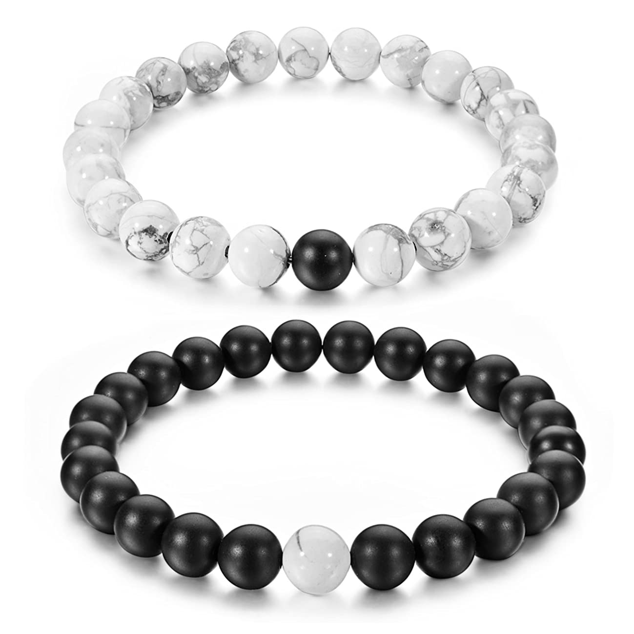 JEWMAY Couples His and Hers Bracelet Black Matte Agate & White Howlite 8mm Beads by Long Way 7.1