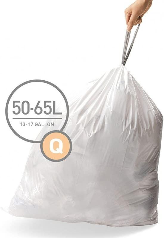 Simplehuman Code Q Custom Fit Drawstring Trash Bags 50 65 Liter 13 17 Gallon 12 Refill Packs 240 Count