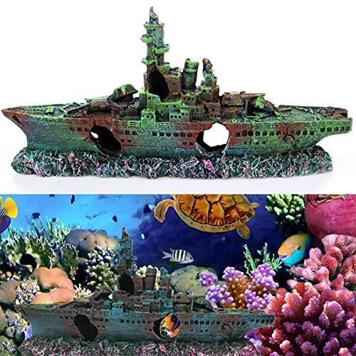 BETOY Aquarium Schiff Ornamente, Aquarium Schiffswrack Harz Angeln Schiff Aquarium Dekor für Süßwasser-Salzwasser für Aquarium Dekoration, Ideal für kleine Garnele Fisch Schildkröte