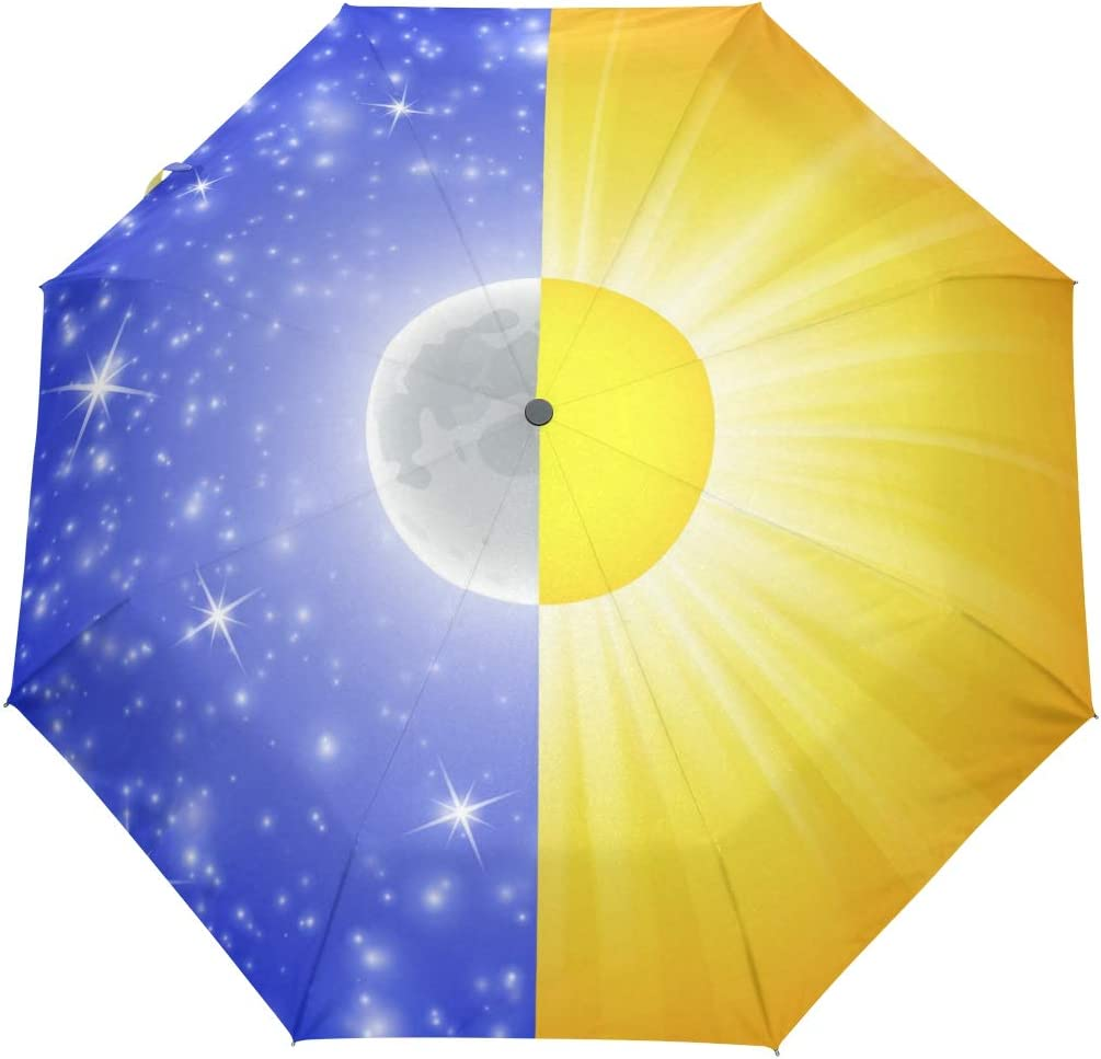 AHOMY Windproof Travel Umbrella Sun Luxury goods Excellence Moon Sky Fold Compact Starry