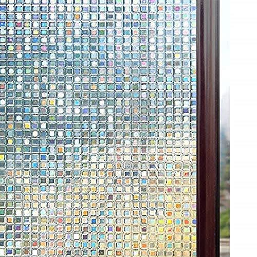 LMKJ Película de Mosaico de Ventana de privacidad Opaca estática sin Pegamento 3D para Vidrio Control térmico no Adhesivo Película colorante Resistente a los Rayos UV A54 60x100cm