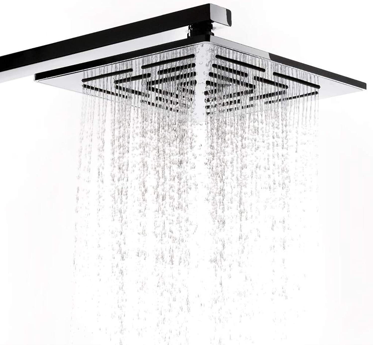 Yongse 8 Inch Shower Head Holes Water Stainless Steel Chrome Finish Square Rainfall Shower Head
