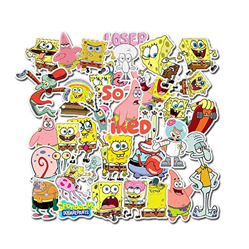 SUNYU 50Pcs/Pack Spongebob Stickers Cartoon Graffiti Pegatinas for Motorcycle Notebook Laptop Luggage Bicycle Skateboard