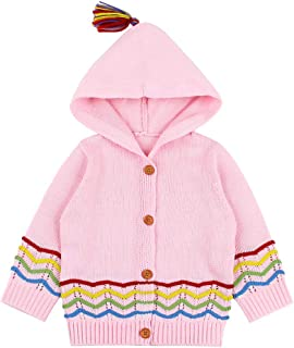 Fairy Baby Toddler Baby Girls Outfit Knit Cotton Hood Jacket Outwear Stripe Sweater Coat