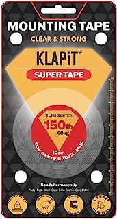 KLAPiT SUPER TAPE Slim 3m double sided tape Holds 150LB/68kg, Uses Enhanced Nano Technology CLEAR & STRONG Magic Improveme...