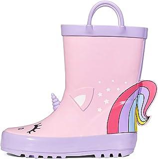 أحذية المطر للأطفال من كيه كومفورم، أحذية مطاطية مطبوع عليها حيوانات للفتيات مع مقابض سهلة