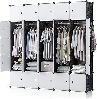 GEORGE&DANIS Portable Wardrobe Closet Plastic Dresser Bedroom Armoire DIY Cube Storage Organizer, Black, 18 inches Depth, 5x5 Tiers