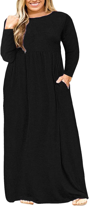 Nemidor Women Long Sleeve Loose Plain Casual Plus Size Long Maxi Dress with Pockets