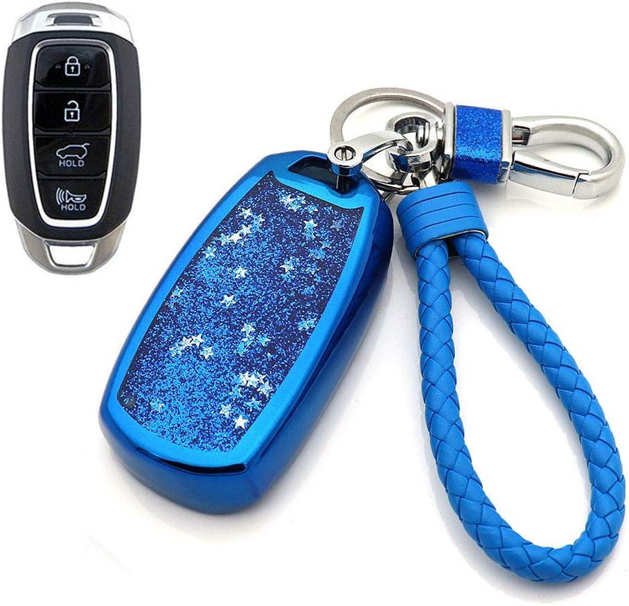 Silver Senauto Quicksand Key Fob Cover Case Keychain for Hyundai 2018-2020