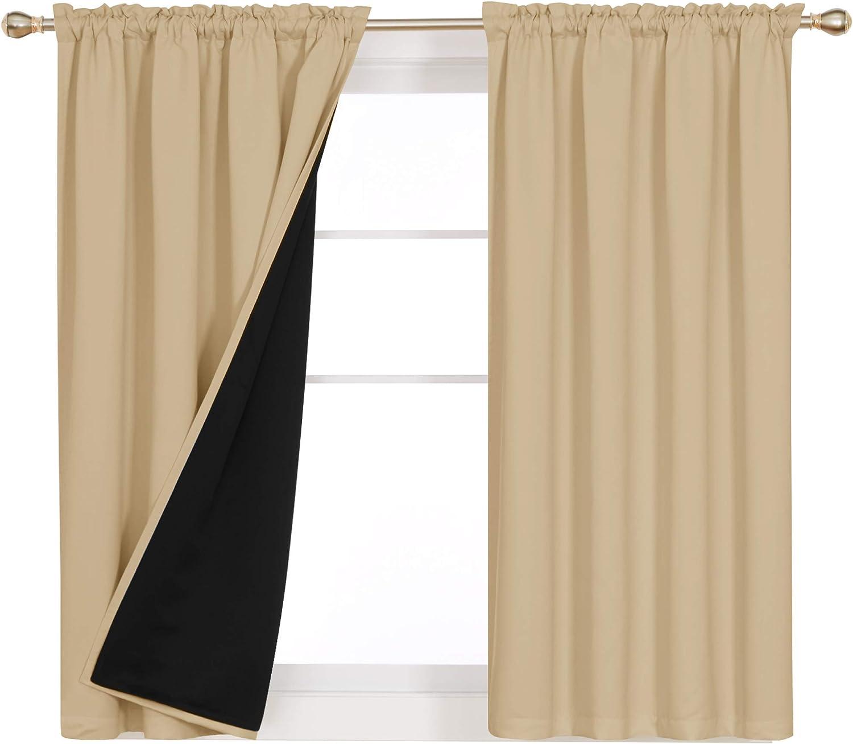 Deconovo Rod ストア Pocket 激安セール 100% Curtains Full Blackout Light