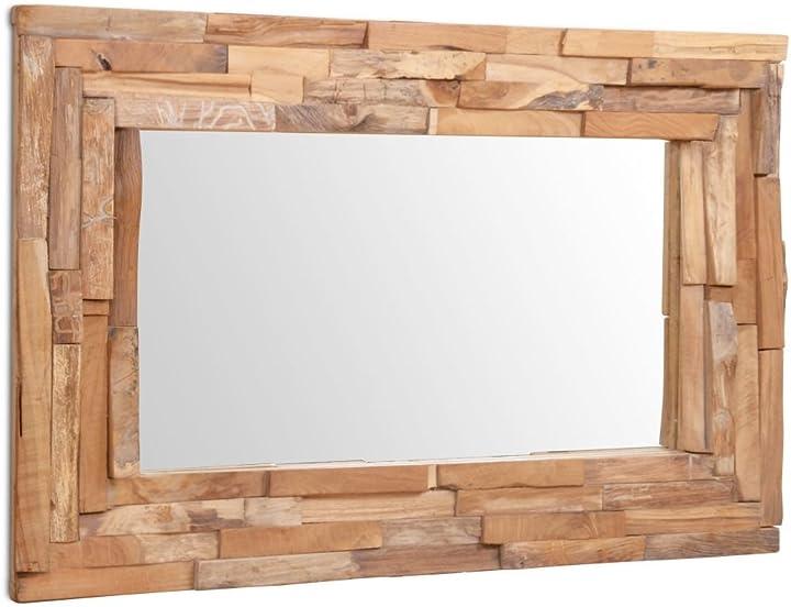 Specchio decorativo a parete legno di teak 90x60 cm rettangolare arredo vidaxl 244563