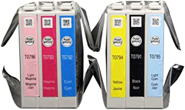 Gen 79 T079120 T079220 T079320 T079420 T079520 T079620 6 Pack Ink Cartridges for e Stylus Photo 1400 and Artisan 1430 Printer