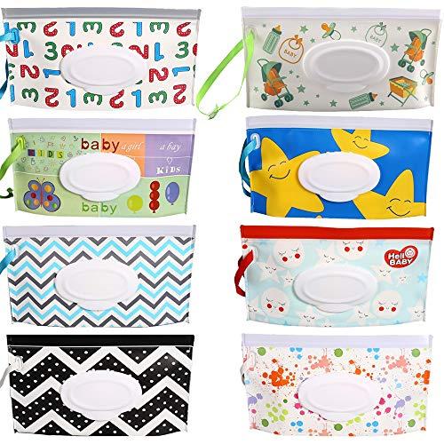 HONDER Contenedor de toallitas para bebés, 8 unidades, portátil y reutilizable, bolsa de toallitas de viaje recargables, toallitas dispensadoras para bebés