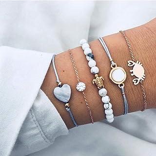 Simsly Ensembles de 5 bracelets multicouches en forme de cœur avec perles et chaîne fantaisie porte-bonheur pour femmes et...