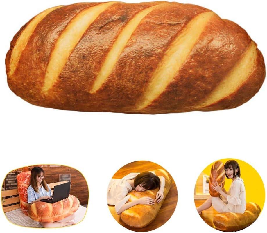 60CM Gecter Funny 3D Simulation Bread Shape Pillow Soft Lumbar Back Cushion Plush Stuffed Toy for Home Decor