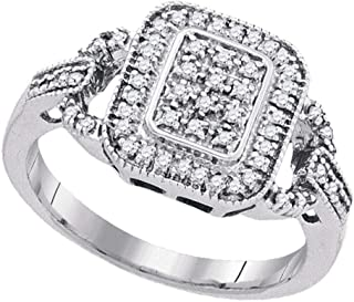 FB Jewels Sterling Silver Womens Round Diamond Rectangle Frame Cluster Ring 1/4 Cttw