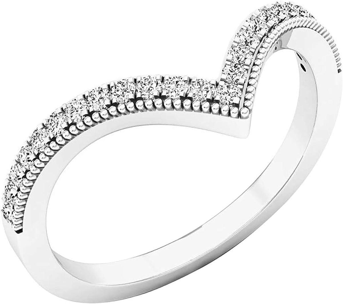 Dazzlingrock collection 0.20 Carat (ctw) Round White Diamond Ladies Chevron Wedding Band 1/5 CT, 10K Gold